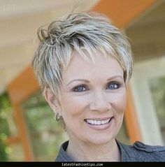 Great pixie haircut for women over 50 with short thick hair! Razor ...