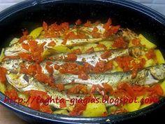 Κεφαλόπουλα με πατάτες στη γάστρα Potatoes, Fish, Potato