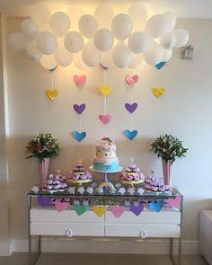 Ideas Cake Ideas Winter Birthday Parties For 2019 - Geburtstag Pink Birthday, Rainbow Birthday, Unicorn Birthday Parties, Birthday Cake, Cloud Party, Simple Birthday Decorations, Baby Shower Decorations, Baby Party, Baby Shower Parties