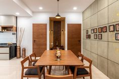 Swaram - A Contemporary House Flat Interior, Apartment Interior Design, Room Interior, Studio Apartment Floor Plans, Dining Table Design, Dining Area, Dining Rooms, Interior Decorating Styles, Interior Designing