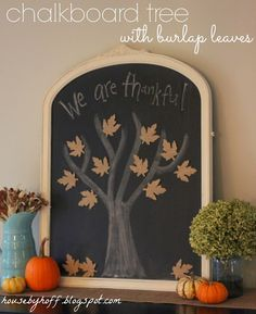 Chalkboard Tree With Burlap Leaves