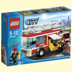 """LEGO City - Fire Truck - 60002 (Lego City """"Get to your action stations! There's a fire in LEGO® City and the firefighters need to rush to the s. Lego City Games, Lego City Fire Truck, Lego City Sets, Lego Sets, Fire Trucks, Toys R Us, Cas, Bateau Lego, Retractable Hose"""