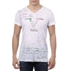 V 1969 Italia Mens T-shirt Short Sleeves V-Neck White JACOB