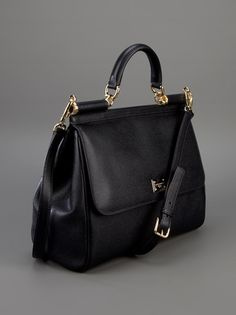 Black textured calf leather shoulder bag from Dolce & Gabbana