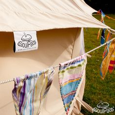 Bunting Around a SoulPad Bell Tent by SoulPad Cotton Canvas Bell Tents