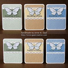 handmade notecards ... Butterfly Lace Stationery Set ... soft colors ... large butterfly ... embossing folder texutre for backgrounds ... great set!