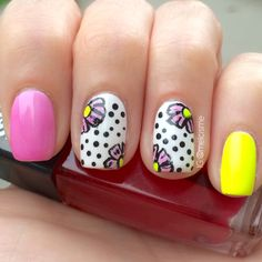 Neon flowers with polka dots by IG : @Melissa Squires Collado