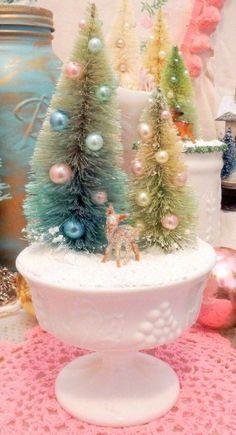 Antique Milk Glass Miniature Deer Pastel Bottle Brush Tree Winter Scene Display