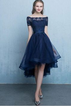 Cheap Easy Prom Dresses Blue Dark Blue Lace Tulle Short Sleeve High Low Round Neck A-Line Short Prom Dresses Uk