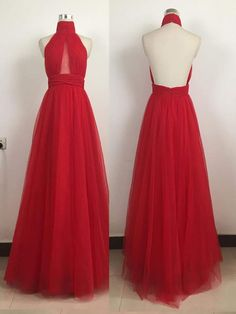 Prom Dress,Long Prom Dresses,Prom Dress High Neck,Red Tulle Prom Dress,Halter Prom Dress,Evening Gow on Luulla
