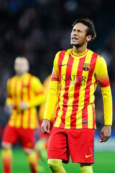 Neymar of FC Barcelona reacts during the La Liga match between Athletic Club and FC Barcelona at San Mames Stadium on December 1, 2013 in Bilbao.