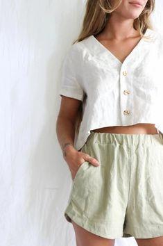 Delphi Linen Shorts - Eucalyptus – Kepola Design House