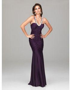 2012 Style Sheath / Column V-neck Beading Sleeveless Floor-length Chiffon Prom Dresses / Evening Dresses (SZ0244943 )