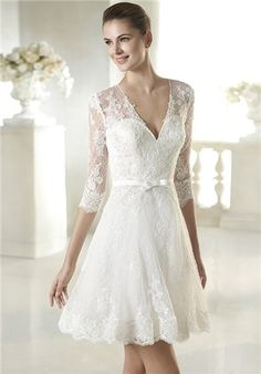 Wedding dress with sheer effect three-quarter-length sleeves