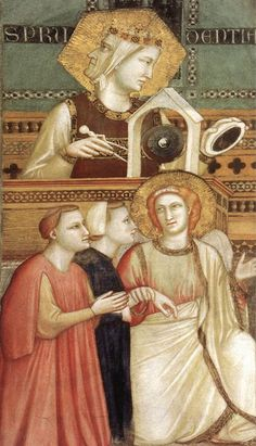 Giotto di Bodone, Franciscan Allegories,Allegory of Obedience c. 1300 (detail)