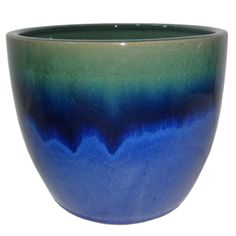 Allen + Roth 10.63 In X 9.84 In Blue Green Ceramic Planter