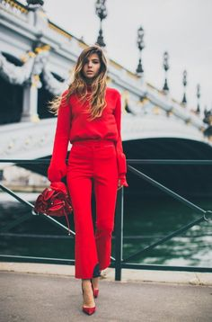 We are loving this oh-so fierce red ensemble.