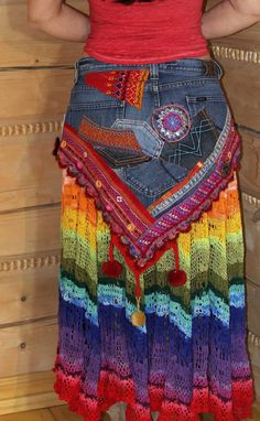 Repurposed jeans- like the cut of the yoke. Not crazy about the bright rainbow stuff- different fabrics for sure Crochet Clothes, Diy Clothes, Moda Jeans, Denim Ideas, Denim Crafts, Recycle Jeans, Recycled Denim, Denim And Lace, Different Fabrics