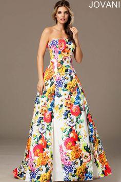 Без бретелек многоцветной цветочным Ballgown с плиссированной юбкой