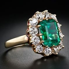 3.35 Carat Victorian Emerald and Diamond Ring - 30-1-4176 - Lang Antiques