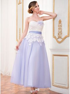 A-Line/Princess Sweetheart Ankle-Length Sash Flower(s) Zipper Up at Side Strapless Sleeveless Hall Reception General Plus No Spring Summer Fall Other Colors Tulle Lace Wedding Dress