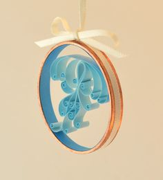 A jellyfish Christmas ornament I quilled- Christmas ornament elegant jellyfish blue quilled by Whomsoever