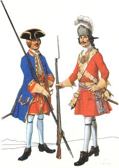 GUARDS PETER THE GREAT 1702-1725: Life Guards noncommissioned officer Semenovsky regiment in full uniform. 1709 Ober officer of the Grenadier Company Life Guards Preobrazhensky regiment in the summer field uniform. 1712-1720 years.
