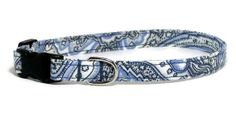Dog Collar  Vintage Blue Paisley  Size XS  Large by PawsnTails, $11.00