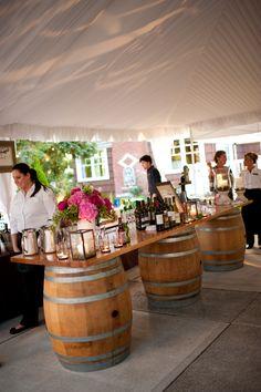 our gorgeous Wine Barrel Bar, an option for your wedding at Laurel Creek Manor! #wine barrel www.laurelcreekmanor.com