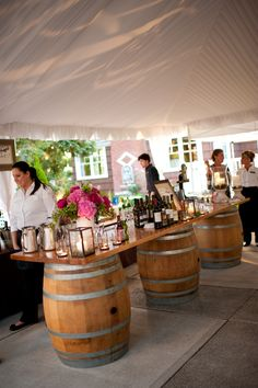 our gorgeous Wine Barrel Bar, an option for your wedding at Laurel Creek Manor!    #wine barrel  www.laurelcreekmanor.com
