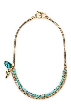 Dree Turquoise Faceted Bead and Charm Necklace in in Turquoise.  98