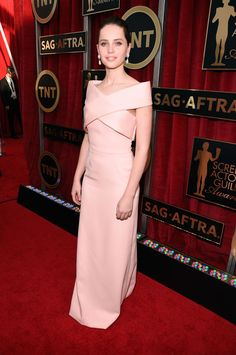 Felicity Jones in Balenciaga and Van Cleef & Arpels jewelry #SAGAwards
