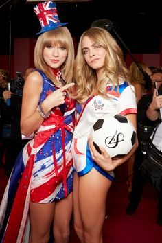 Taylor Swift & Cara Delevingne backstage at The Victoria's Secret Fashion Show 2013.