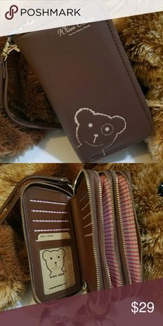 """""""Wiser Bear """" Phone Wrist Wallet  (Brown) 2017 Fashion Women Wrist Wallet ??Cute Bear Lady Handbag Clutch Zipper ??Multifunction Coin Purse ??Universal Phone Case Cover For iPhone 7 6S Samsung Galaxy S7 S6 Edge   ??Description Ingredient: High Quality PU Leather Size: 15 cm x 9.6 cm x 4.5 cm  (L x W x H) Note: Cellphones below 5.5 Inch  Structure: 3 Zipper Pockets 9 Credit Card Slots 1 Photo Frame Package Include: 1 x wallet    1 x Strap 11 By Boris Bidjan Saberi Bags Clutches & Wristlets"""