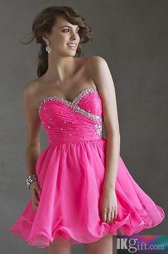 Short Hot Pink Dress❥ #Fashion #Dress #Dresses