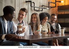 Happy multi ethnic group of friends talking using smartphones in cafe, diverse young people laughing having fun at coffee break in coffeehouse, cheerful millennials enjoying meeting in coffeeshop , Friends Group Photo, Vintage Wedding Cards, People Laughing, Life Plan, Model Release, Coffee Break, Coffee Shop, Ethnic, Have Fun