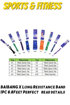 BAIBANG X Long Resistance Band 1PC 6.8Feet Perfect for Body Stretching, Pull up, Fitness and Sports, Powerlifting and Exercise Loop Training - Single Unit Exercise Bands, Powerlifting, Stretching, Bar Chart, Periodic Table, The Unit, Training, Fitness, Sports
