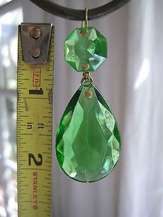 10 Pee Vintage Green Chandelier Crystal Prisms Almond