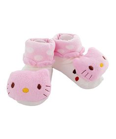 Take a look at this Pink & White Polka Dot Cat Socks by Baby Wingz on #zulily today!