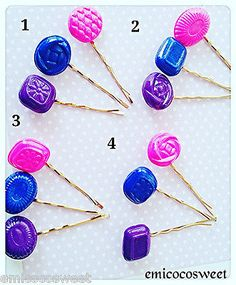 Candy hair clip set ,Kitsch Fun Food hair clip,kawaii hair,handmade hair clips