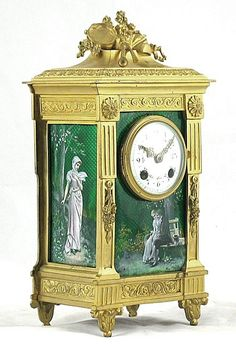 A Fine Louis XVI Style Gilt-Bronze and Green Enamel Mantel Clock - French c.1890