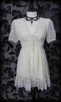 Romantic Victorian Antique Cream Ruffle Lace Front Tea Dress 10 M Boho Vintage | THE WILTED ROSE GARDEN