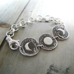 Moon Story No. 2, Moon Phases Bracelet, Fine and Sterling Silver, Recycled Silver, Original and Exclusive by SilverWishes