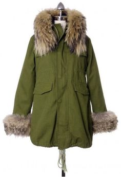 Hit The Road Detachable Faux Fur Jacket - Retro Indie and Unique Fashion Faux Fur Parka, Faux Fur Jacket, Unique Fashion, Fashion Fashion, Daily Fashion, Fashion Ideas, Fashion Beauty, Green Parka Jacket, Indie