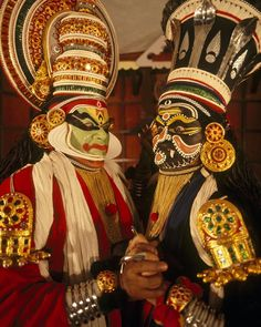 #AroundTheWorldIn8Days Rooted in the Kerala dance dramas over 1500 years old Kathakali is one of the most intricate and demanding styles of theatre in the world. Acts traditionally begin at night and don't end until morning. In order to prepare for these demanding roles they will sometimes train for up to a decade to build their stamina and master the many hand gestures facial expression and body movements. Here two Kathakali dancers prepare to perform in Kochi #India. #Dance #Music #Art…