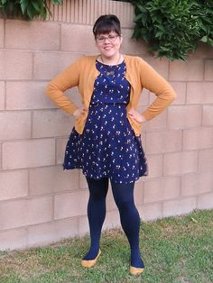 Skinned Knees coastal Fatshion Fat Fashion Polka Dots Mustard Tights Ross Target Old Navy