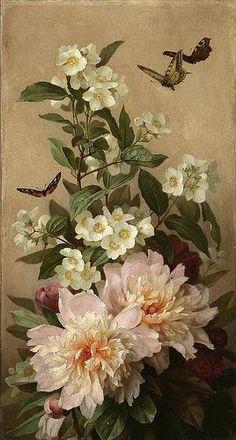 Paul de Longpré 'Peonies and butterflies' c.1900 - Copy