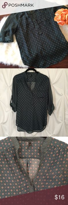 Green printed blouse Beautiful dark green blouse. Would look super cute with some burgundy jeans. Maurices Tops Blouses