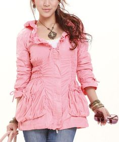 Another great find on #zulily! Melon Ruffle Jacket by Runway #zulilyfinds