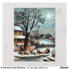 A Visit from Saint Nicholas vintage Christmas Holiday Postcard